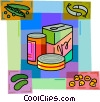 Canned Goods with fish, pickles and peas Vector Clip Art graphic