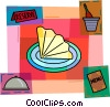 Restaurant scene with menu, and place setting Vector Clip Art image
