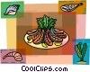 Lobster tails with shrimp and fish Vector Clipart illustration