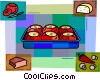 Stuffed tomatoes with bread, peppers & mushrooms Vector Clipart illustration