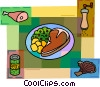 Steak dinner with peas, pork and pepper Vector Clip Art picture