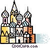 Vector Clipart graphic  of a St. Basil's Cathedral Red