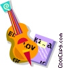 Vector Clip Art graphic  of a cello and music book