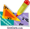 Vector Clip Art picture  of a ruler and a pencil