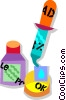 Vector Clip Art graphic  of an adding a solution to petri