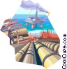 Vector Clipart illustration  of a Offshore Drilling Platforms