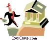 Vector Clip Art image  of a man running to the bank