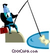 Vector Clip Art picture  of a Fishing for Prospects