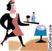 Vector Clip Art picture  of a Waiters and Waitresses