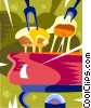 Vector Clip Art image  of a cheese fondue