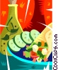 Vector Clipart graphic  of a sandwich and a salad