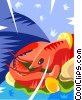 Vector Clip Art graphic  of a Lobster dinner