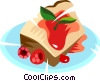 Vector Clipart picture  of a pastry with raspberry sauce