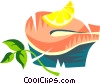 Salmon steak with lemon Vector Clipart picture
