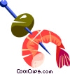 shrimp and a olive Vector Clipart graphic