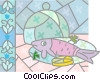 Fish dinner Vector Clipart illustration