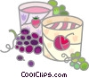 Wine barrels and grapes Vector Clipart illustration