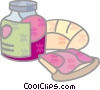 Toast and jam Vector Clip Art image
