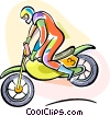 Vector Clipart graphic  of a Motocross rider
