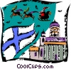 Vector Clip Art image  of a Santa flying over a church