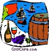 Wine Barrels Vector Clipart illustration