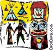 Vector Clipart image  of an American Indians