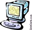 computer desktop system Vector Clipart illustration