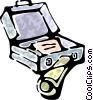 briefcase with a newspaper Vector Clip Art graphic