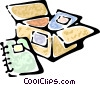 Vector Clip Art image  of a box of binders