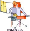 Vector Clip Art picture  of a Irons Ironing