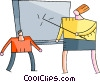 Teacher pointing to blackboard Vector Clip Art picture