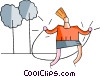 girl skipping Vector Clipart picture