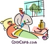 Vector Clip Art image  of a Nurses with Patients