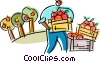 Farmer harvesting apples Vector Clipart illustration