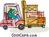 Vector Clip Art picture  of a Fork Lifts