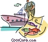 Commercial fishing industry Vector Clipart illustration