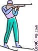 Vector Clip Art graphic  of a biathlon competitor shooting