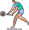 Vector Clip Art graphic  of a Tennis player returning a