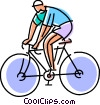 Cyclist riding his bike Vector Clipart illustration