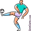 Vector Clipart image  of a Soccer player kicking a ball