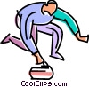 curler lining up his shot Vector Clipart picture