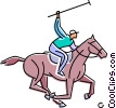 Vector Clip Art picture  of a Polo player about to strike