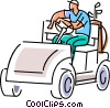 Vector Clipart image  of a Golfer waiting in the cart