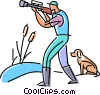 hunter lining up his shot while his dog waits Vector Clip Art picture