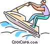 Vector Clip Art graphic  of a Jet ski rider flying over the