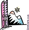 Vector Clip Art graphic  of a Downhill Skiing