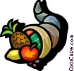 Vector Clip Art image  of a cornucopia filled with fruit
