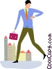 Running and Walking Vector Clipart picture