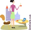 Vector Clipart image  of a Having Coffee