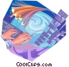 Fibre Optic cable and satellite Vector Clipart illustration
